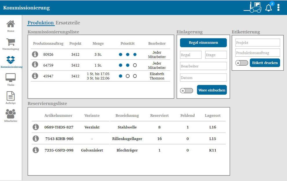 Screenshot Assistenzsystem